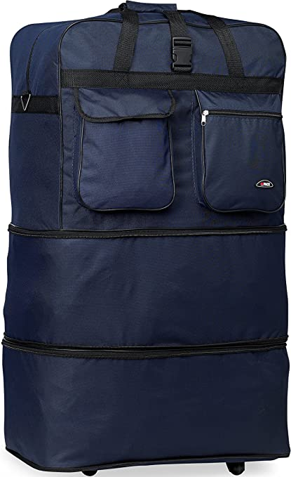 40 Navy Blue Large Expandable Rolling 6 Wheeled Duffel Bag Spinner Suitcase Luggage