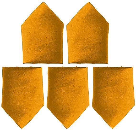 Mens Classic Pocket Square Combo of 5 Pcs| Colour:Golden