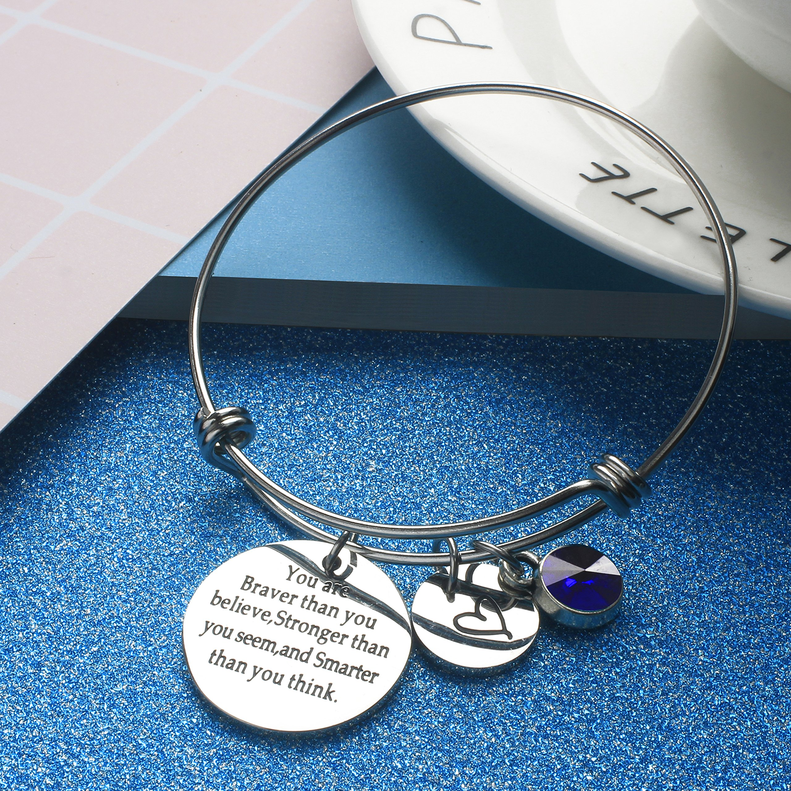 Angel's Draw Home You Are Braver than You Believe Adjustable Bangle Bracelets With 12 Months Color Birthstone for Women Girls Gift (Sapphire- September) by Angel's Draw Home (Image #4)