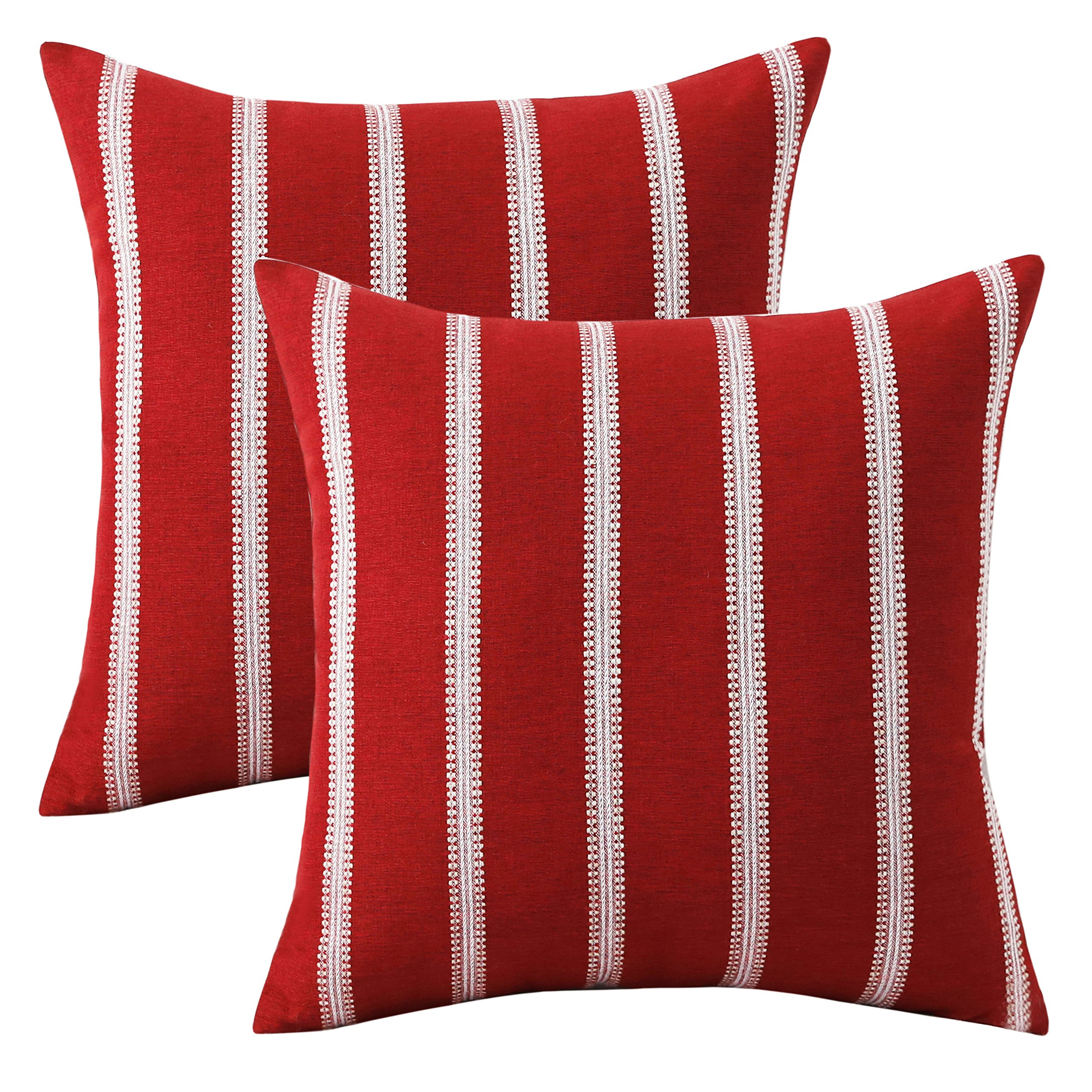 HOME BRILLIANT Embroidered Striped European Euro Pillow Case Sham Covers Bench Gradern Girl's Room, 2 Pack, 24x24 inches(60cm), Red