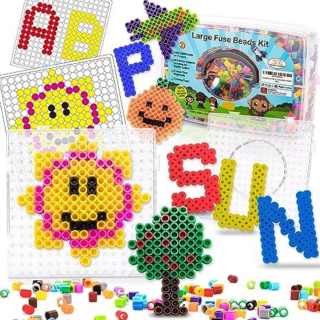 Fuse Beads - Kit de 1500 cuentas grandes de 10 mm con 48 patrones y dos tableros de clavijas para aprendizaje en inglés, creación de arte: Amazon.es: Juguetes y juegos