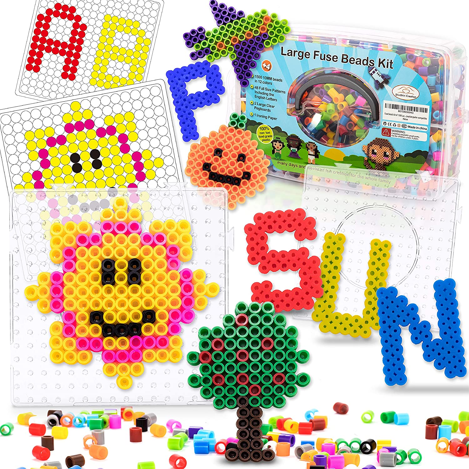Fuse Beads kit of 1500 Large 10MM Perfect for Ages 4-7 with 48 Patterns and pegboard English Learning DIY Art Creation Shinshin creation
