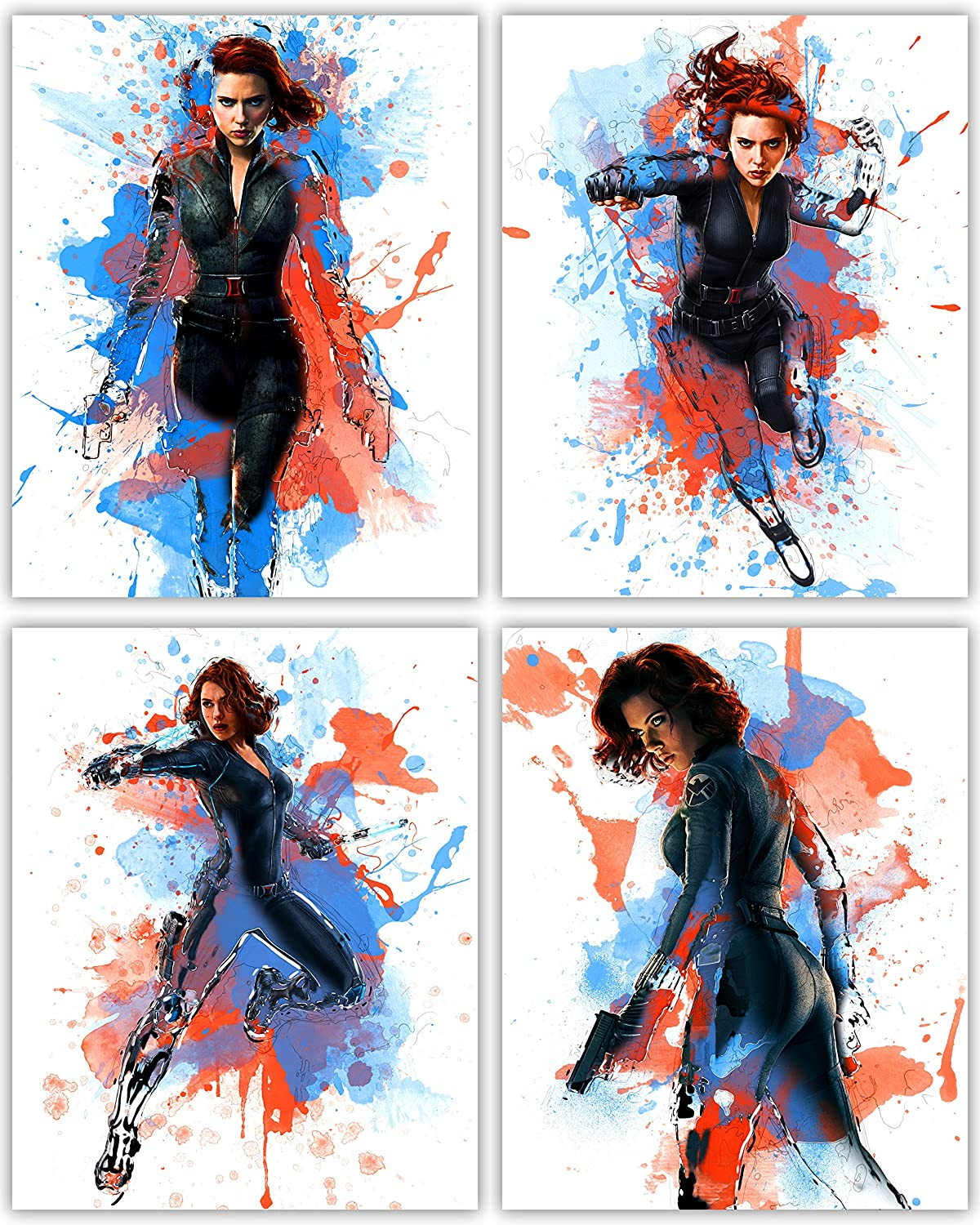 Black Widow Poster Collection -Scarlett Johansson as The Great Avenger in Our Wall Art Movie Print Series - Set of 4 8x10 Photos