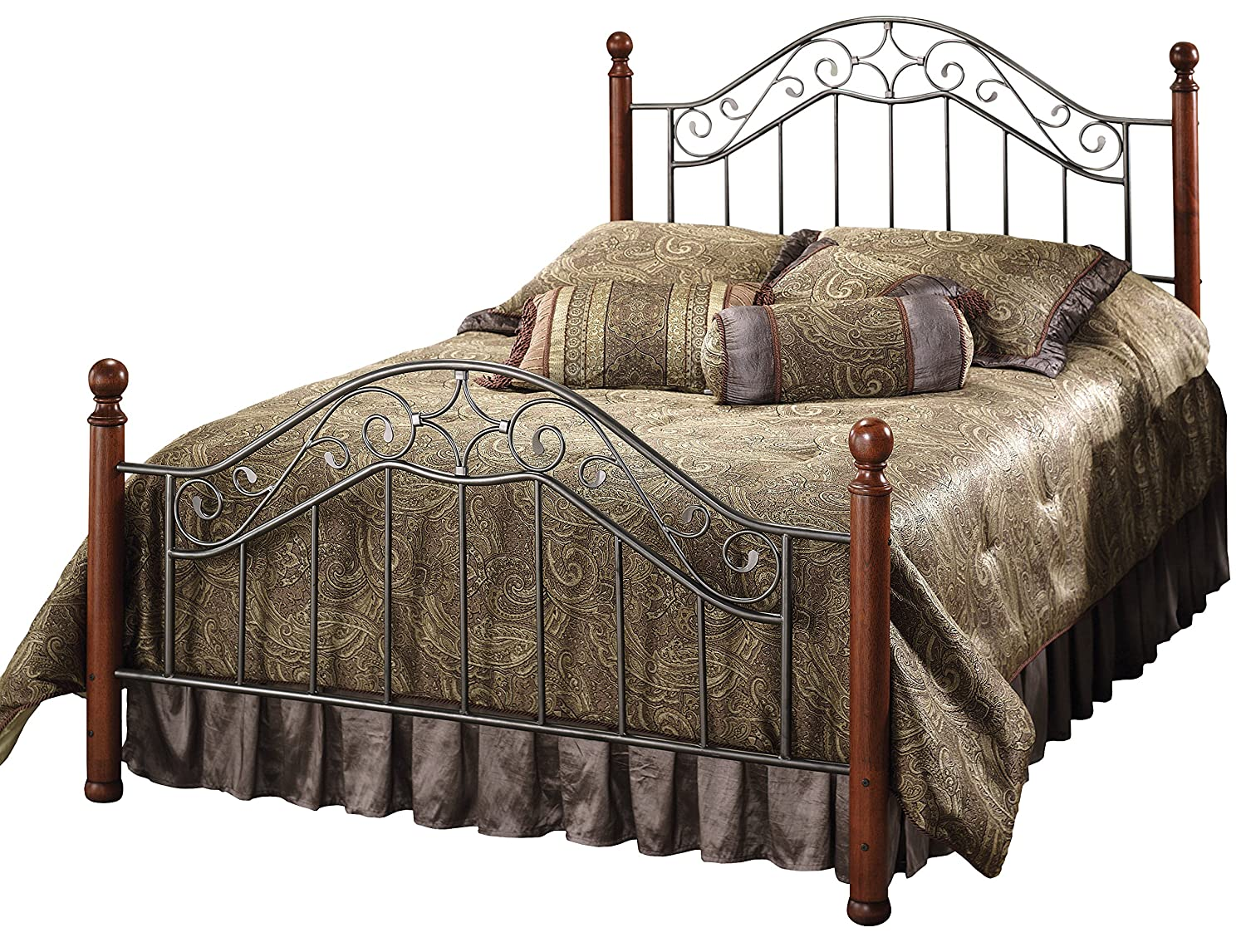 Hillsdale Furniture Martino Bed Set with Rails, Full, Smoke Silver