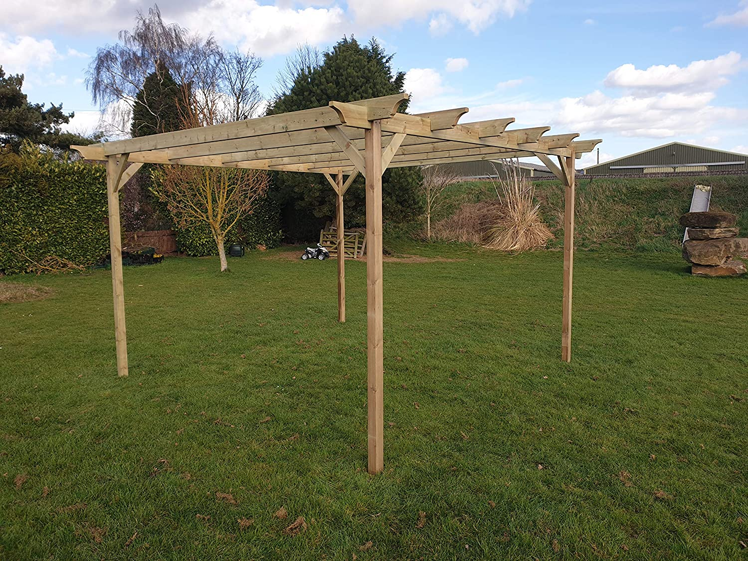 GMS TIMBER LTD Champion - Kit de pérgola de jardín de Madera - Exclusiva Gama de pérgola - más Grande en Amazon - Acabado Verde Claro o marrón rústico: Amazon.es: Jardín