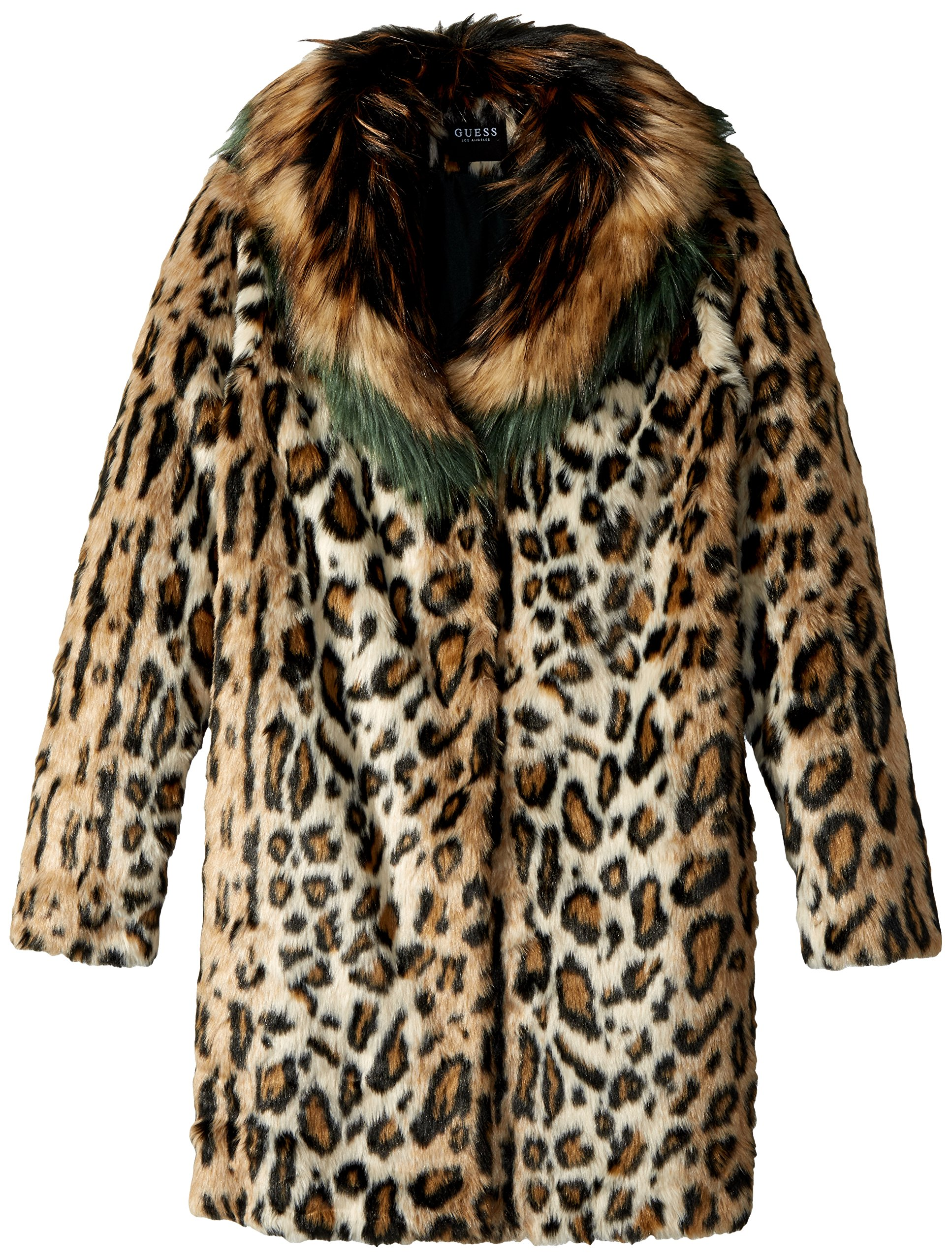 GUESS Big Girls' Faux-Fur Coat, Leo Beige Combo, 16