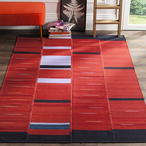 Safavieh Kilim Collection KLM814A Hand Woven Red Premium Wool Area Rug 5 x 8