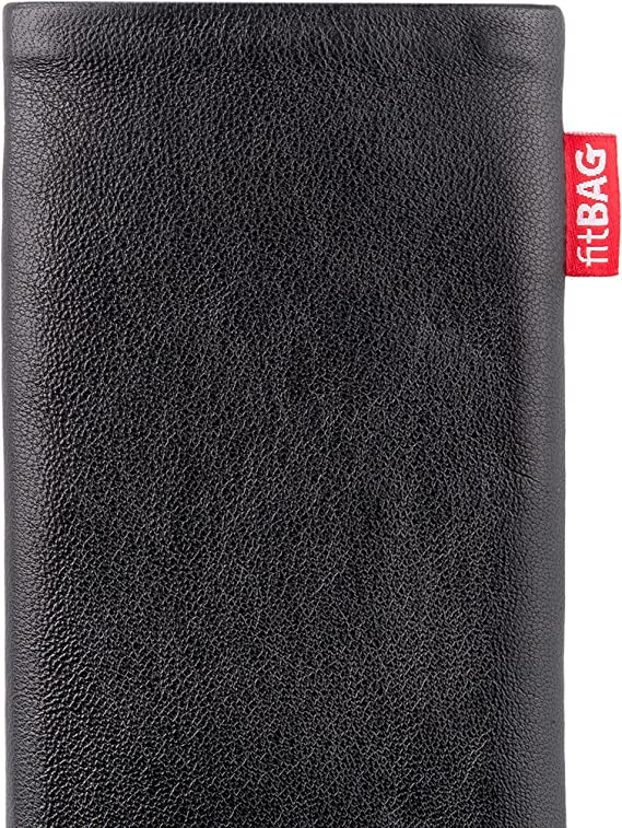 fitBAG Beat Black custom tailored sleeve for Oppo Realme 6 Pro Made in Germany Fine nappa leather pouch case cover with MicroFibre lining for display cleaning
