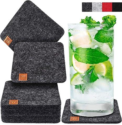 Scandi Style Felt Drink Coasters With Leather Set of 10 MIQIO /® Design washable