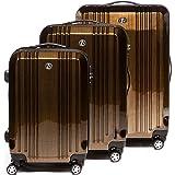 FERGÉ® Kofferset Hartschale 3-teilig CANNES Reise-Koffer Set leicht 3er Hartschalenkoffer Trolley Set (M L XL) 4 Zwillings-Rollen (360°) Hartschale braun