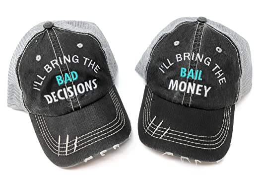 Image Unavailable. Image not available for. Color  Mary s Monograms I ll  Bring The Alcohol Bad Decisions BK Distressed Trucker Hats Black 15d941e1ad05