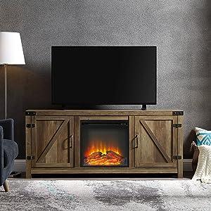 WE Furniture TV Stand, Rustic Oak