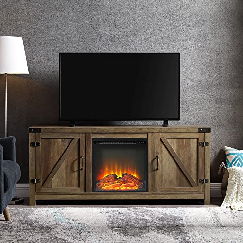 Walker Edison Furniture Farmhouse Barn Wood Fireplace Stand
