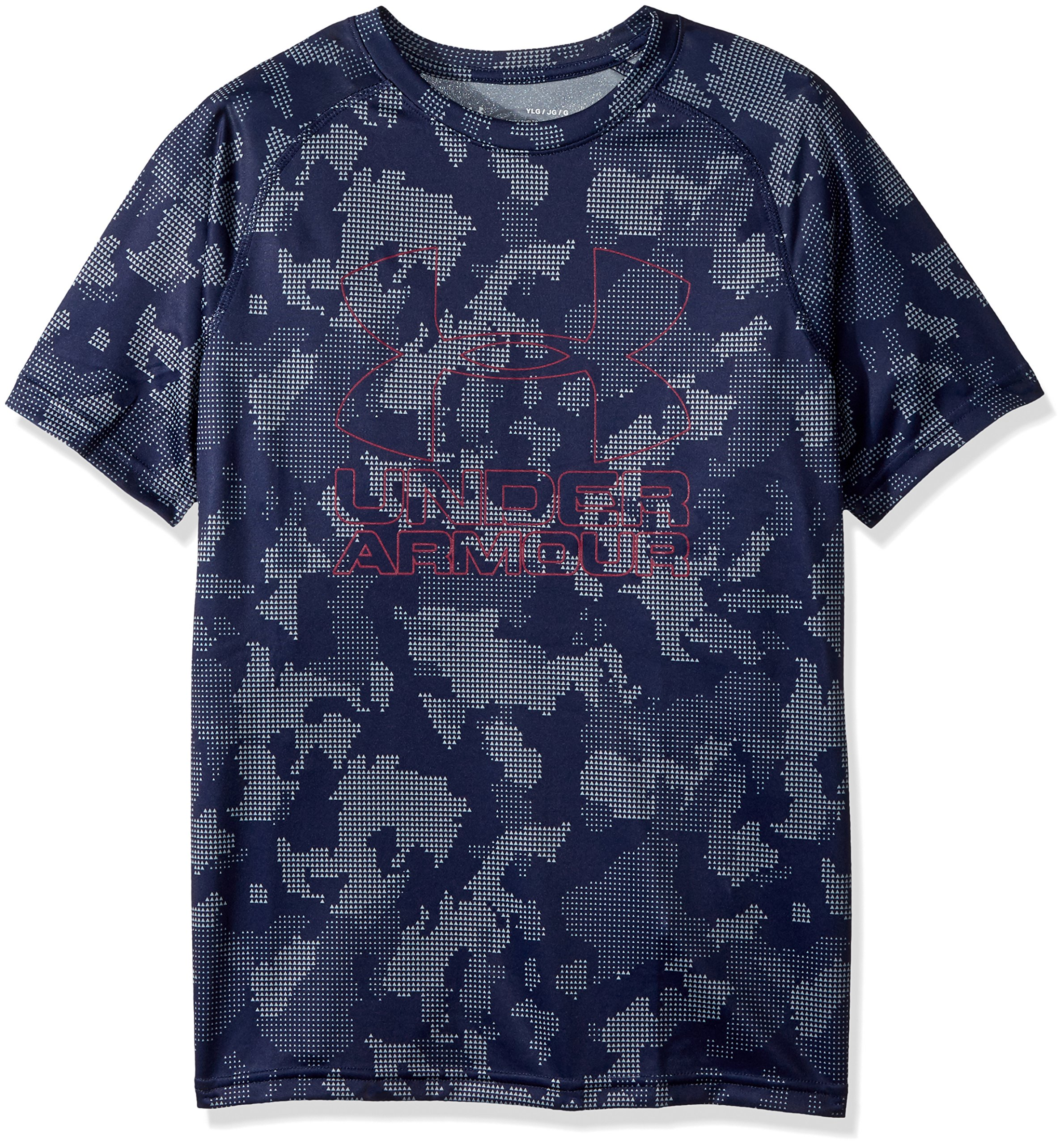 Under Armour Boys Big Logo Printed T-Shirt,Midnight Navy /Black Currant, Youth X-Small