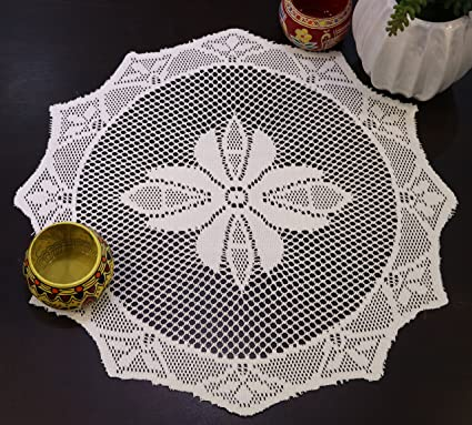The Home Talk Set of 12 pcs Lace Placemat, Best for Dining Table/Bedside Table, Center Table, 14 inch Round- Cream