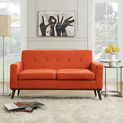 Amazon.com: Sophia Mid Century Modern Fabric Sofa, Orange: Kitchen ...