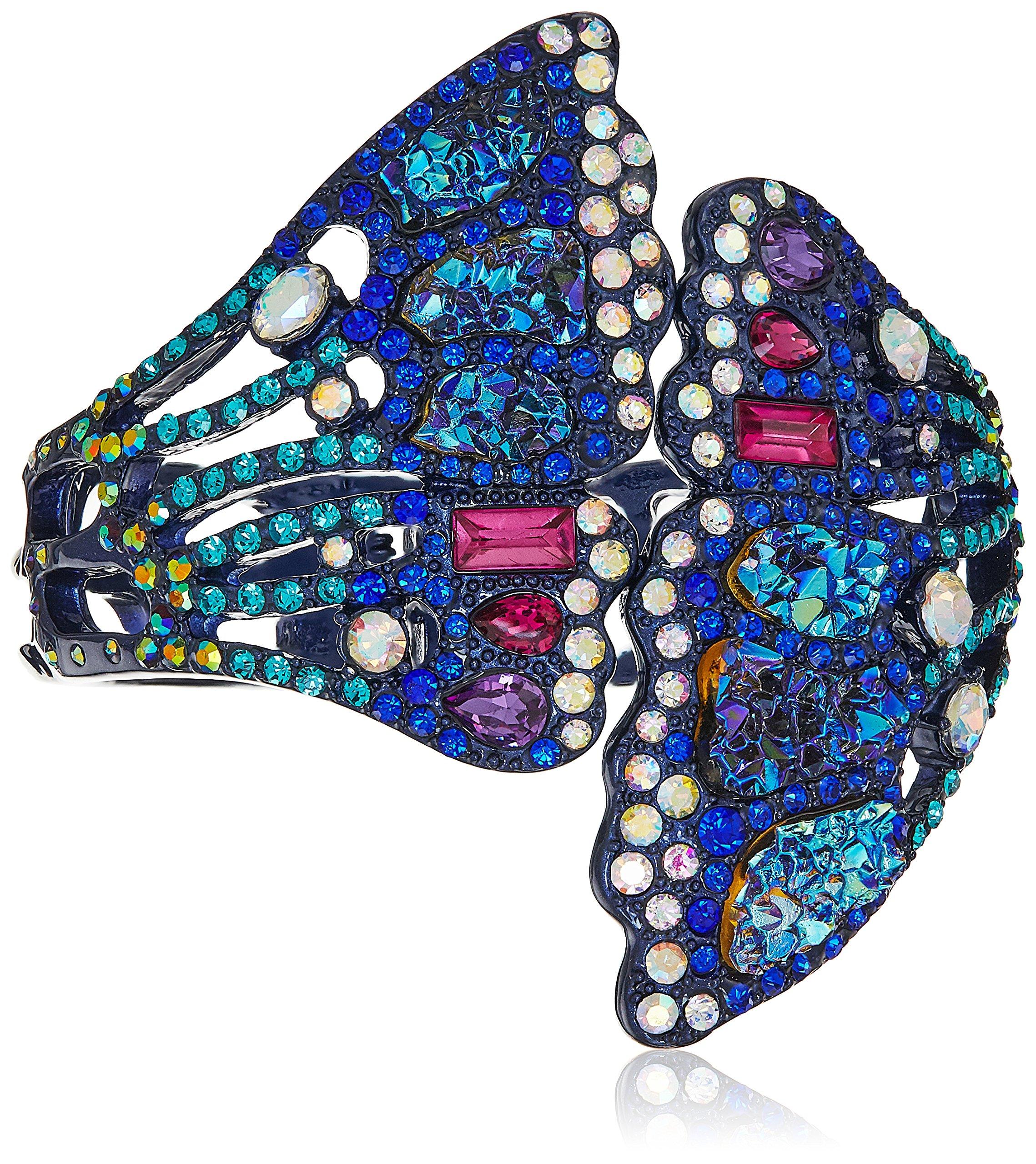 Betsey Johnson Butterfly Purple Metallic Butterfly Wing Hinged Cuff Bracelet