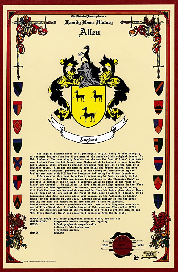 Amazon Com Allen Coat Of Arms Crest And Family Name History Meaning Origin Plus Genealogy Family Tree Research Aid To Help Find Clues To Ancestry Roots Namesakes And Ancestors Plus Many Other Surnames At