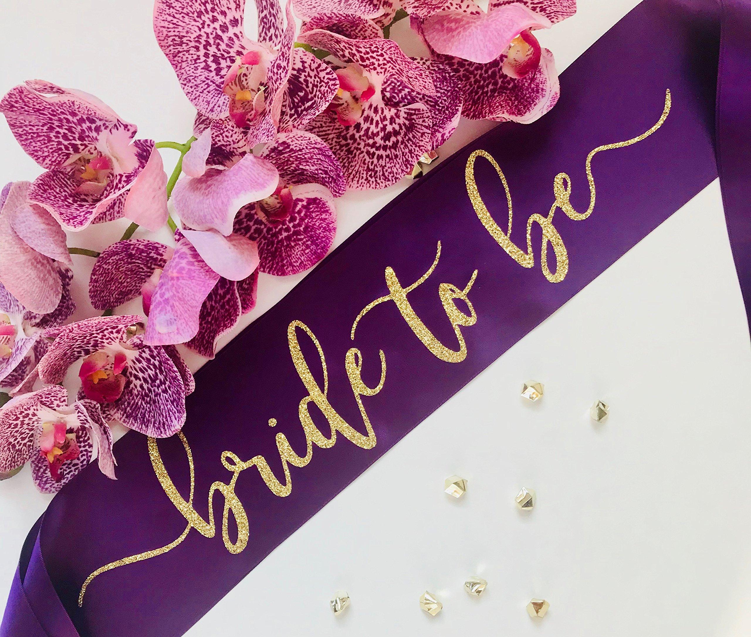 Bride To Be Sash Plum With Gold Glitter Font - Bachelorette Party Sash - Engagement Party Sash by J & B Enterprises
