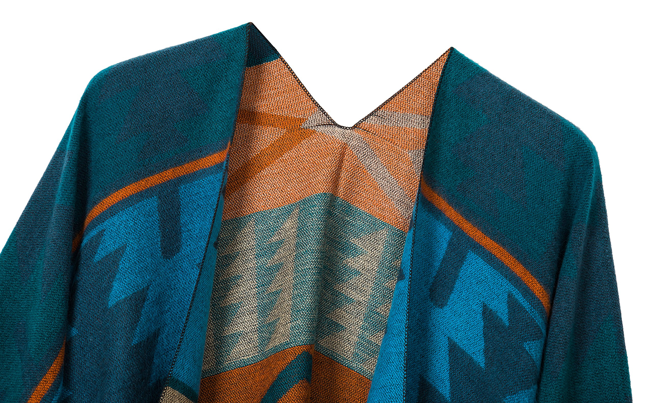 Urban CoCo Women's Printed Tassel Open front Poncho Cape Cardigan Wrap Shawl (Series 4-Blue) by Urban CoCo (Image #3)