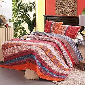 Exclusivo Mezcla 100% Cotton 3-Piece Exotic Boho Queen Size Quilt Set as Bedspread/Coverlet/Bed Cover- Lightweight, Reversible& Decorative
