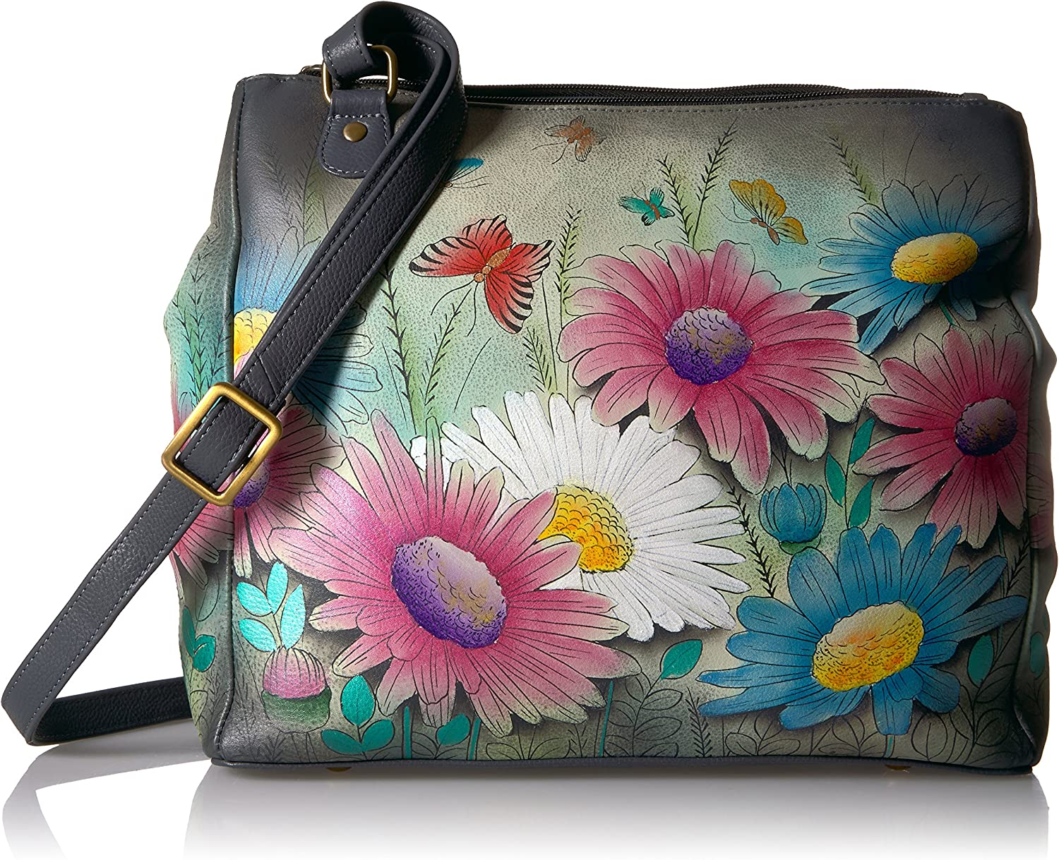 Anna by Anuschka Women s Genuine Leather Large Multi-Compartment Tote Bag Hand Painted Original Artwork Dancing Dragonflies
