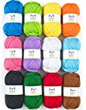 Mira Handcrafts 50g Large Yarn Bonbons – Total of 1200m Knitting and Crochet Yarn – Starter Kit Including 12 Multicolour Yarns and 7 Ebooks with Yarn Wool Patterns