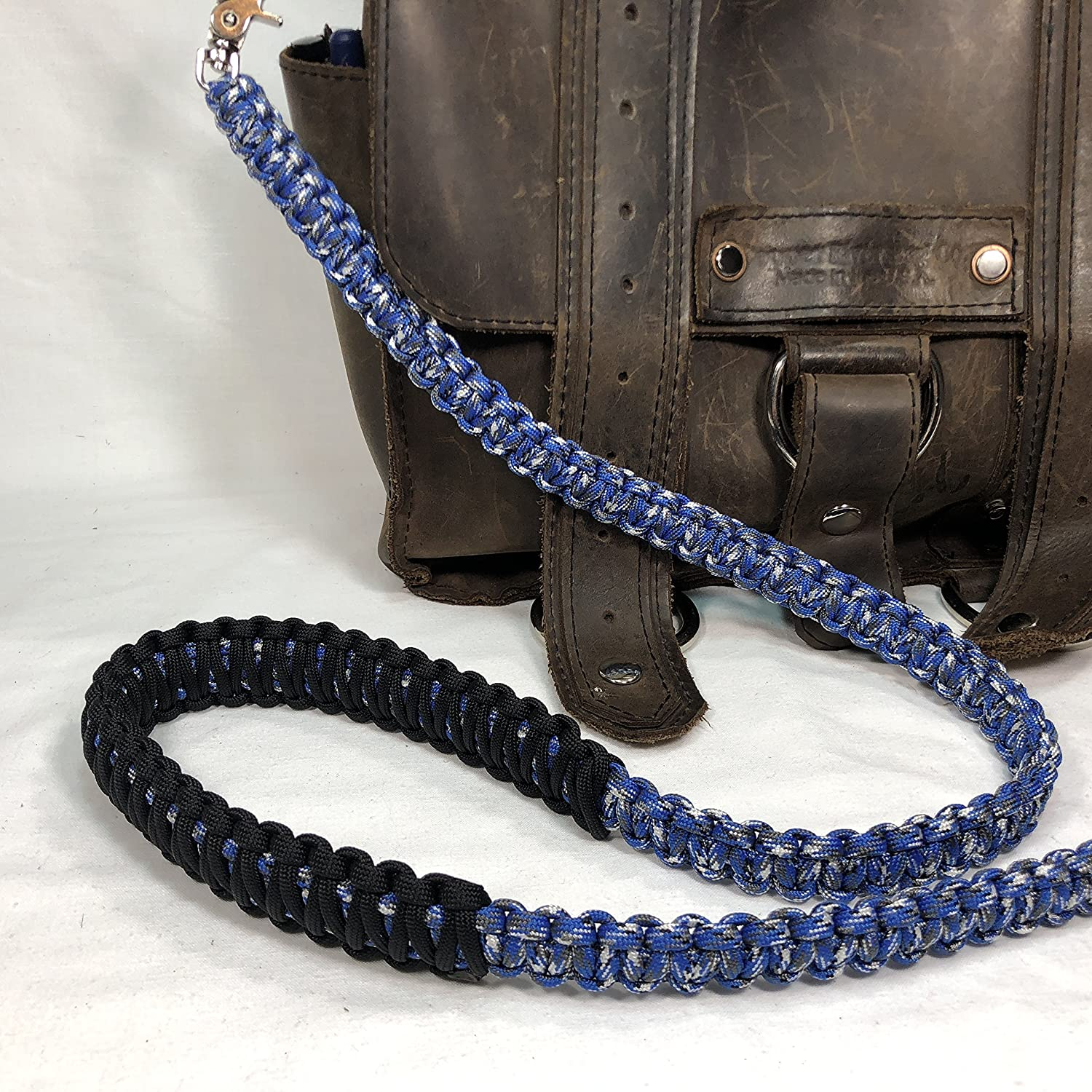 Blue Camo Paracord Cross Shoulder Strap, Handbag, Satchel Strap, Duffel Bag