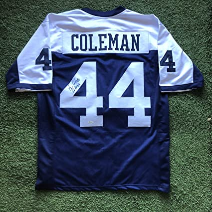 dde814bc Lincoln Coleman #44 Signed Dallas Cowboys XL Throwback Jersey ...
