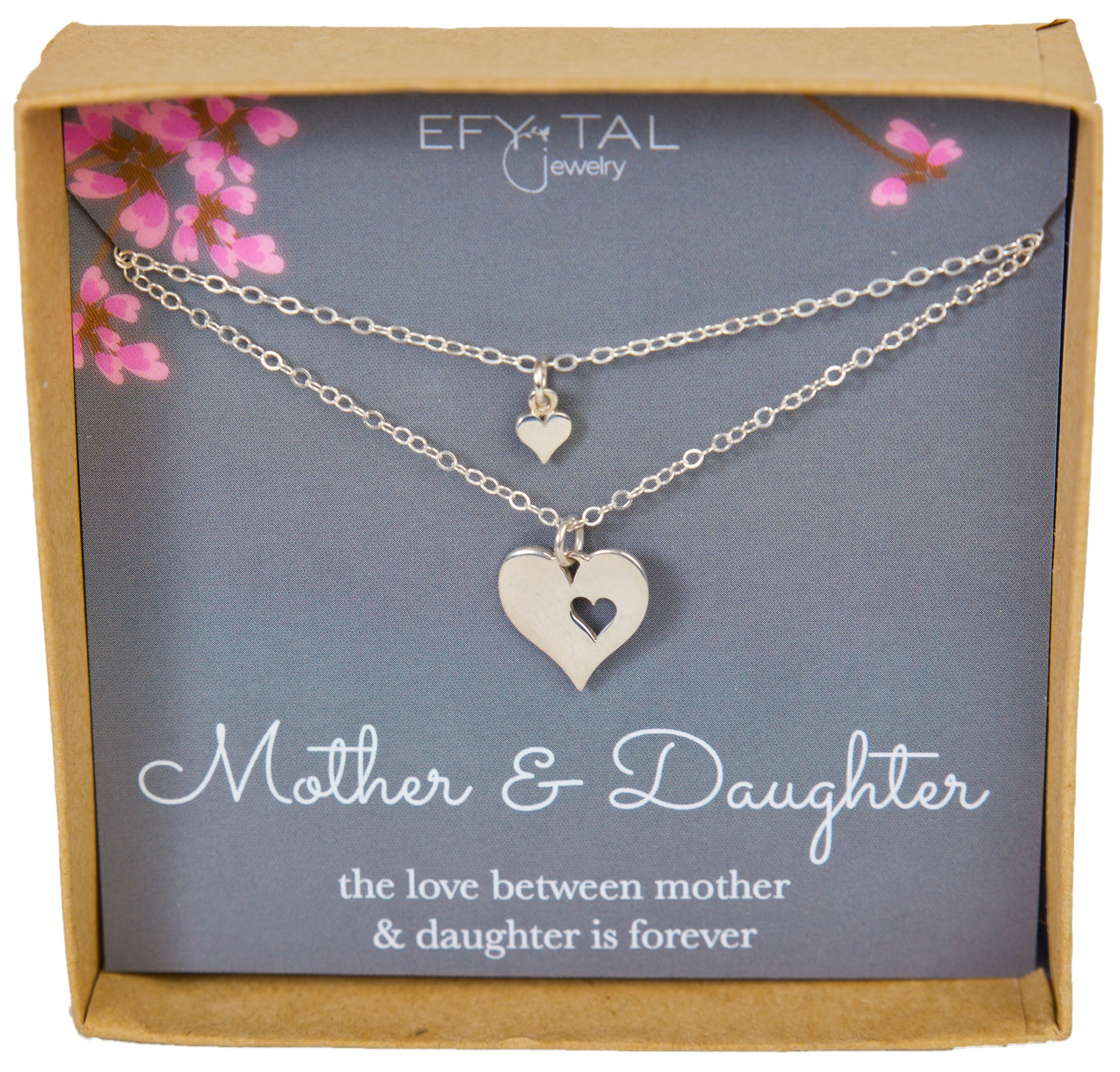 Efy Tal Jewelry Mother Daughter Set for Two, Cutout Heart Necklaces, 2 Sterling Silver Necklaces