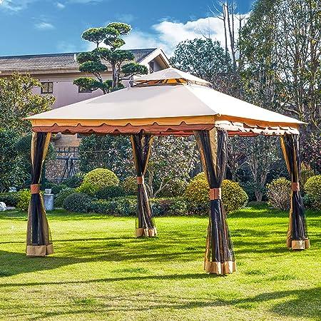 Amazon Com Lokatse Home 10 X 10 Outdoor Patio Gazebo Soft Top Fabric Steel Garden Canopy Tent With Curtain Beige Garden Outdoor