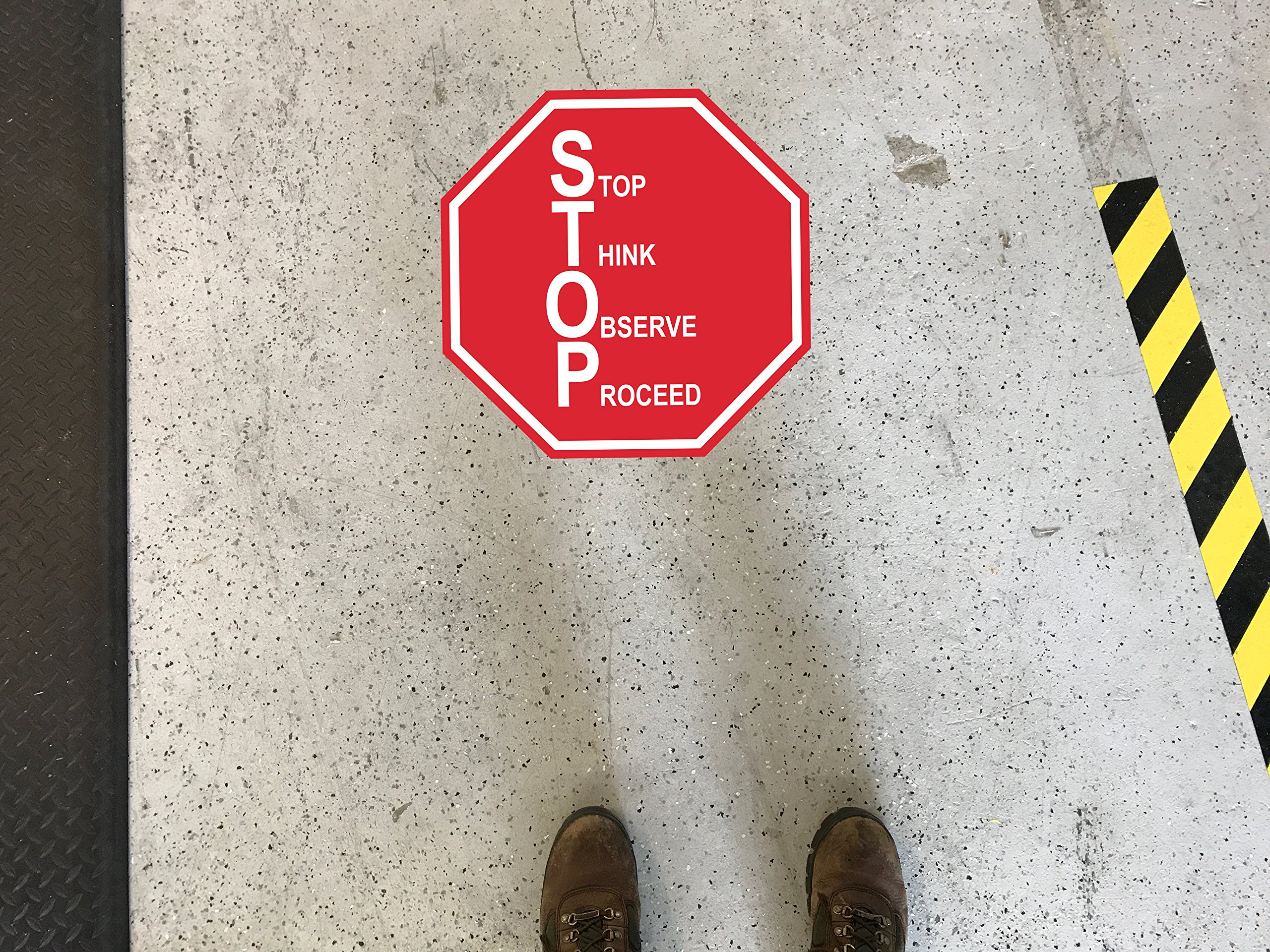 """Stop Think Observe Proceed"""" – 22in Durable Floor Sign by Graphical Warehouse Vibrant Colors - Safety and Security Signage. Red Octagon."""