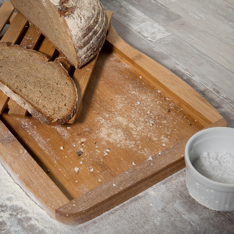 Levivo Tabla para Cortar Pan de Bambú - Tabla de Pan con Bandeja Recogemigas Desmontable - Tabla de Cocina de Madera - Tabla para Picar Alimentos de ...