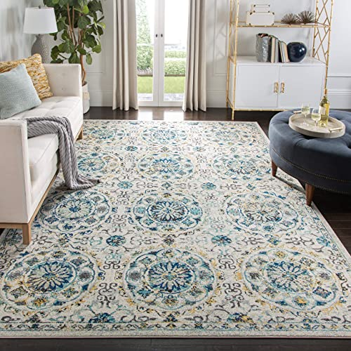 Safavieh Evoke Collection EVK252C Ivory and Blue Area Rug 9 x 12