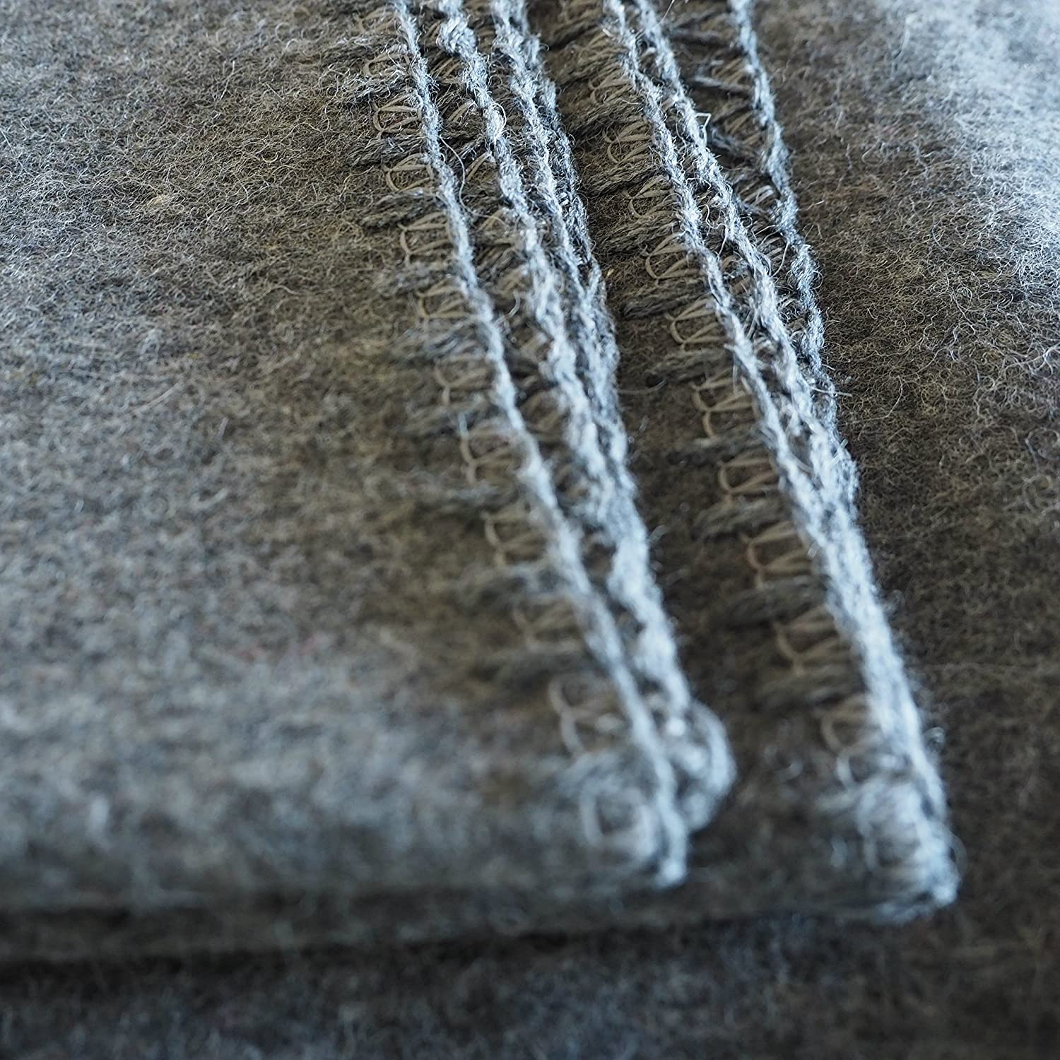 Woolly Mammoth Woolen Company Explorer Collection Wool Blanket 66 x 90 Gray