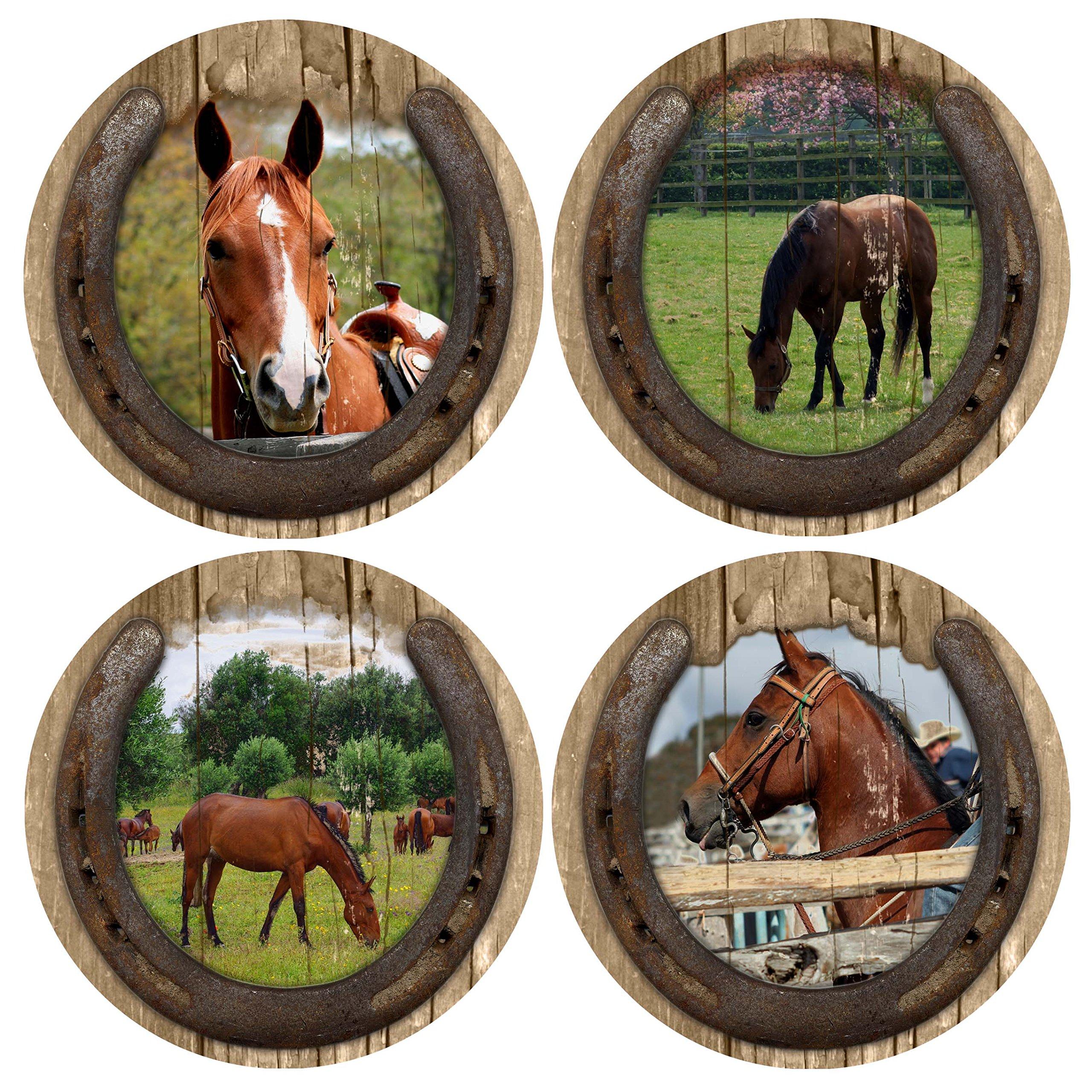 Thirstystone Stoneware Coaster Set, Quarter Horses