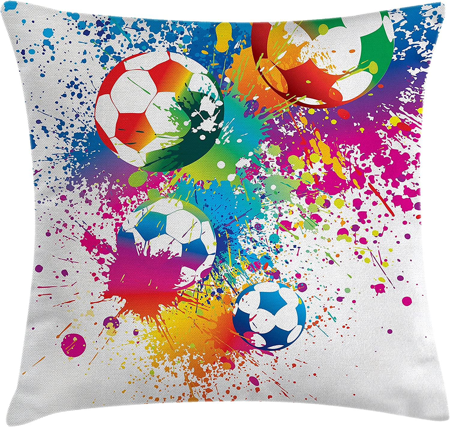 "Ambesonne Soccer Throw Pillow Cushion Cover, Colored Splashes All Over Soccer Balls Score World Cup Championship Athletic, Decorative Square Accent Pillow Case, 16"" X 16"", Blue White"