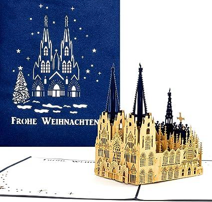 Pop tarjeta de Up Kölner Dom – Feliz Navidad azul, tarjeta de Navidad (Catedral de Colonia, Pop Up tarjeta en Navidad, 3d tarjeta Colonia: Amazon.es: Oficina y papelería