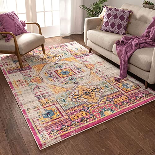 Luxuriance Global Vintage Mamluk Traditional Medallion Distressed Purple Fuchsia Yellow Gold Beige 8×10 7'10″ x 9'10″ Area Rug