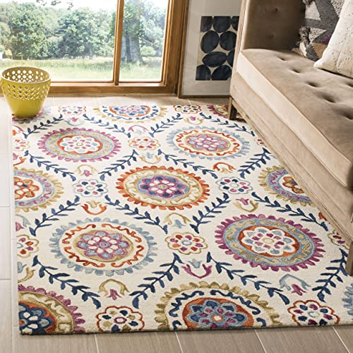 Safavieh Suzani Collection SZN374B Hand-Hooked Wool Area Rug, 8 x 10 , Ivory Multi