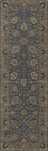 Momeni Rugs Zarin Collection, 100 Wool Hand Tufted Traditional Area Rug, 2 6 x 8 Runner, Blue