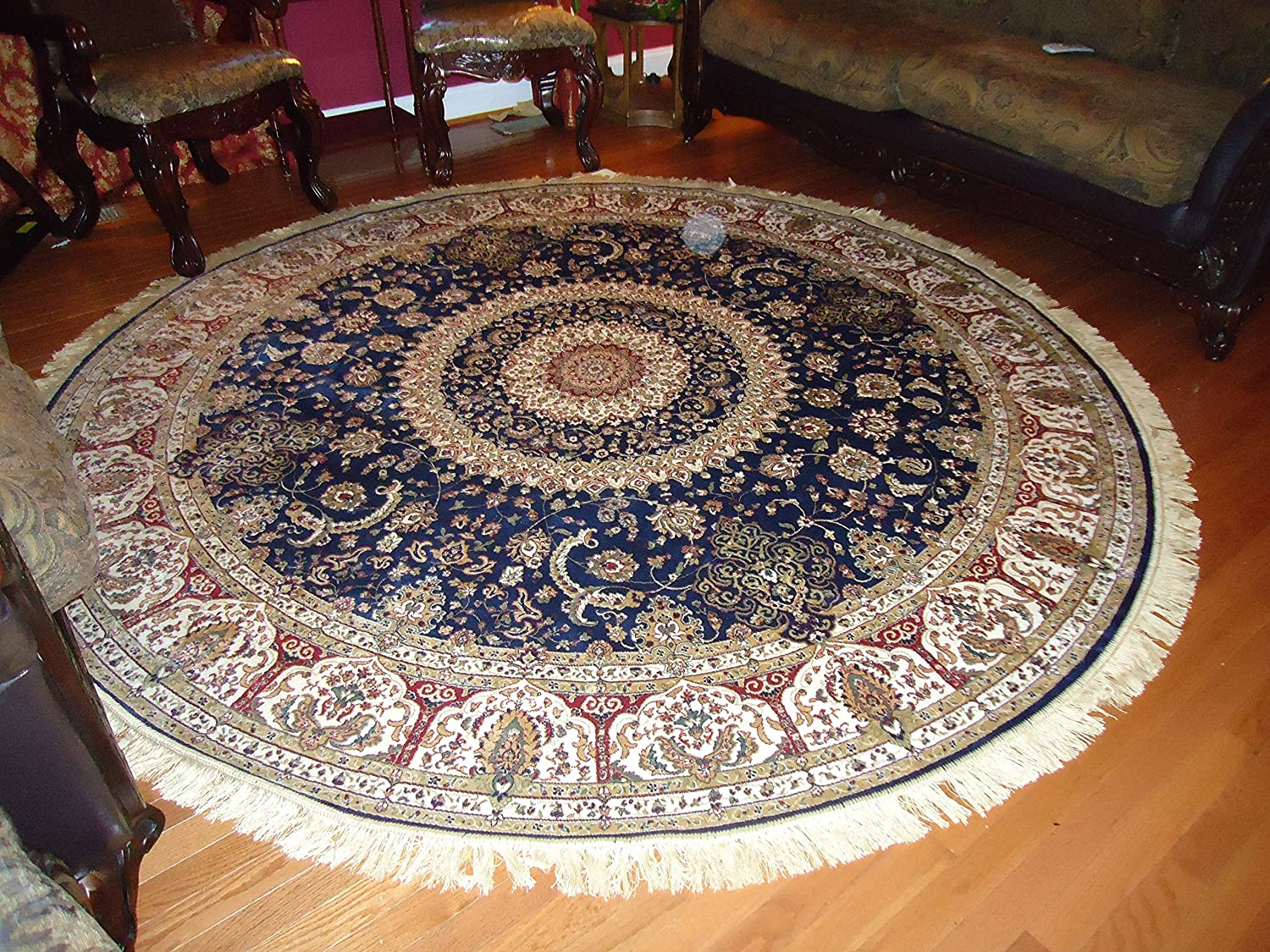 Amazon.com: Luxury Large Round Rugs Silk Traditional Area Rugs Navy Circle  Rugs Persian Area Rugs 8x8 Circle Rug Living Room Round Shape Rugs Silk Low  Pile ...