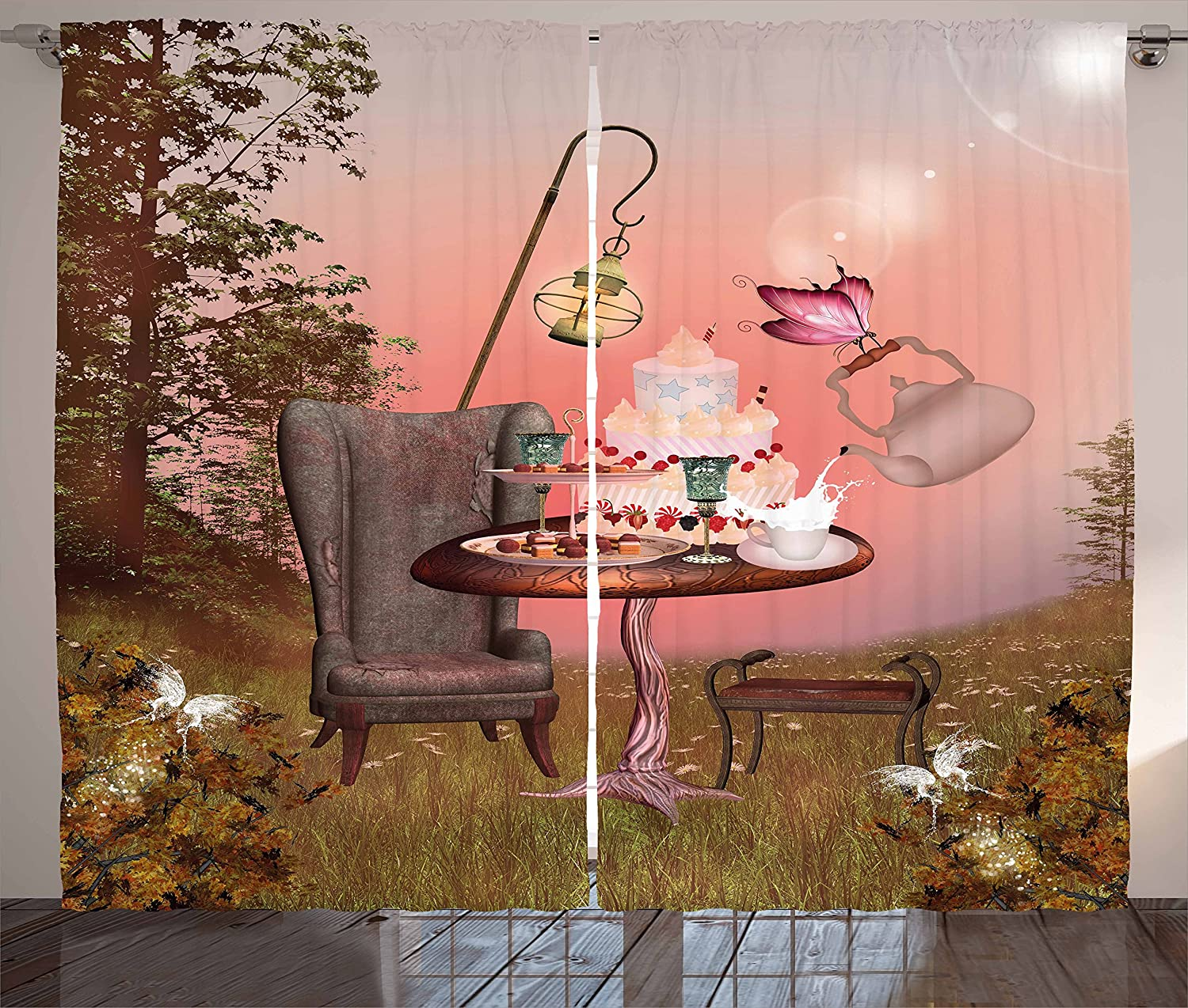 """Ambesonne Surrealistic Curtains, Birthday Alice in Wonderland with Cake Butterfly in Forest Cartoon Art, Living Room Bedroom Window Drapes 2 Panel Set, 108"""" X 84"""", Pale Coral"""