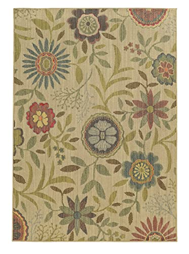 Tommy Bahama Cabana 1330W Floral Beige Multi Area Rug 5 3 X 7 6