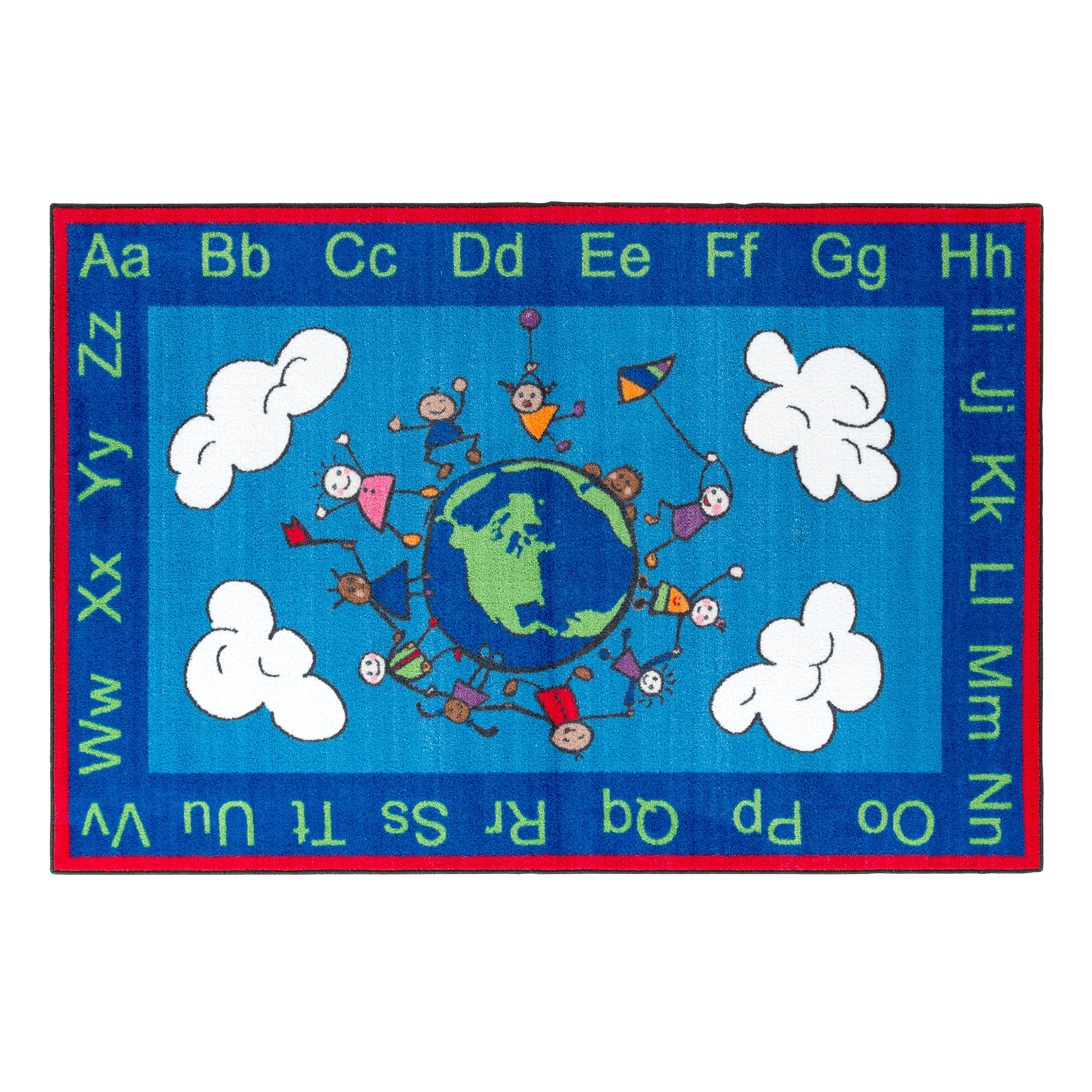 Flagship Carpets CE189-22W Happy World Rug, Promotes Acceptance with Cheerful Friends of Diverse Backgrounds, 4' x 6', 48'' Length, 72'' Width, Blue/Multi-Color
