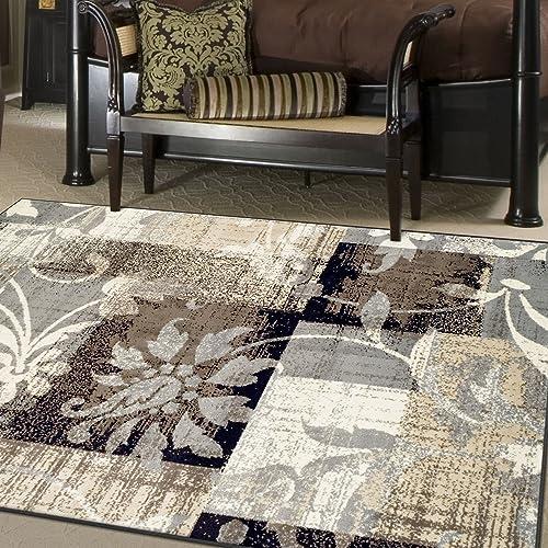 Superior Designer Pastiche Area Rug, Distressed Geometric Floral Patchwork Pattern, 6 x 9 , Chocolate