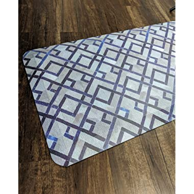 Anti Fatigue Comfort Long Floor Mat By Sky Mats - Commercial Grade Quality Perfect for Standup Desks, Kitchens, and Garages - Relieves Foot, Knee, and Back Pain, 24x70x3/4-Inch, Blue Diamonds Pattern