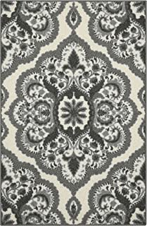 product image for Maples Rugs Vivian Medallion Kitchen Rugs Non Skid Accent Area Carpet [Made in USA], 2'6 x 3'10, Grey