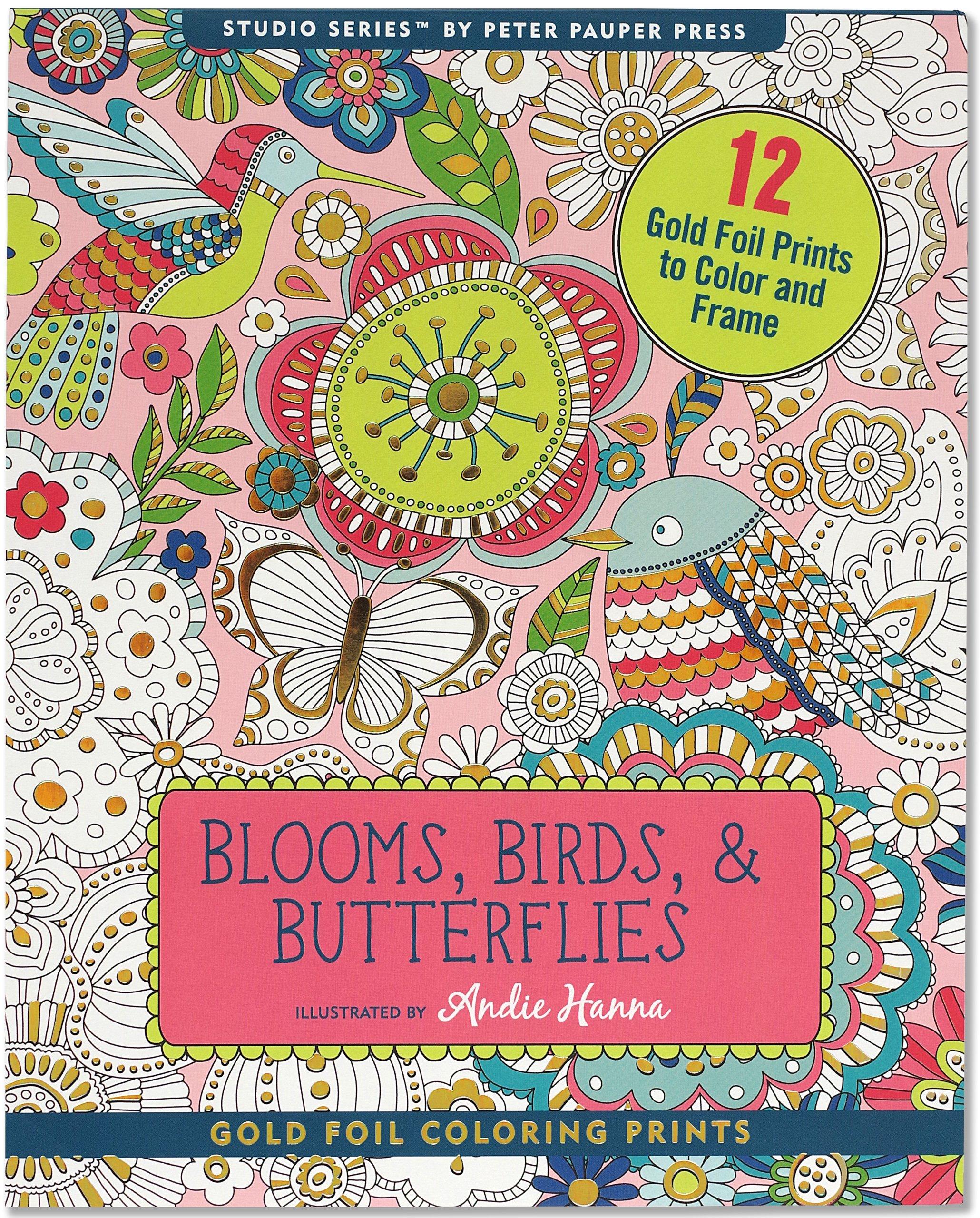 Blooms, Birds, & Butterflies Foiled Coloring Prints (12 frame-worthy designs) (Studio Series Gold Foil Coloring Prints) PDF