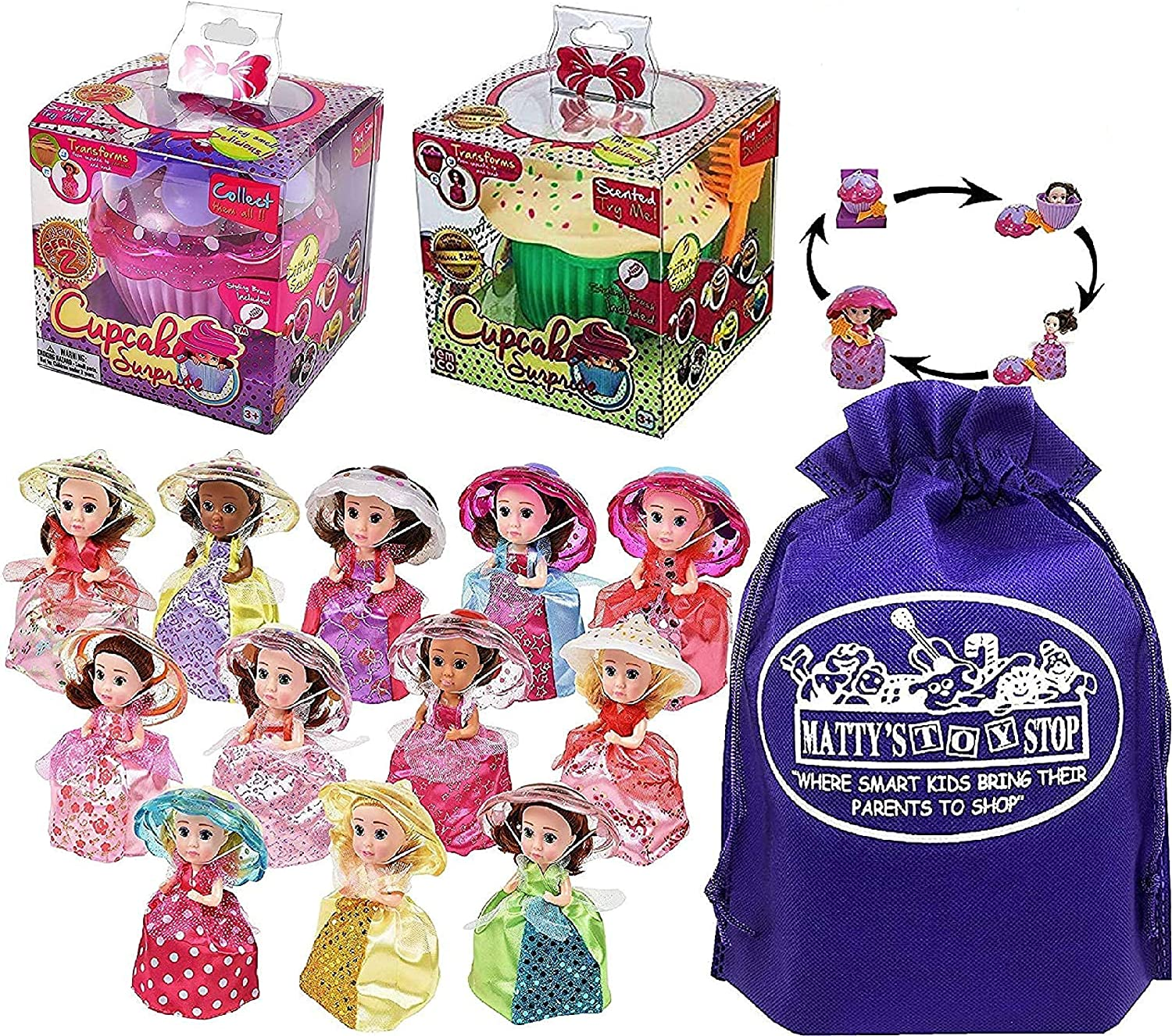 Cupcake Surprise Transforming Scented Princess Dolls Gift Set Bundle with Bonus Matty's Toy Stop Storage Bag - 2 Pack (Colors & Styles are Assorted & May Vary)